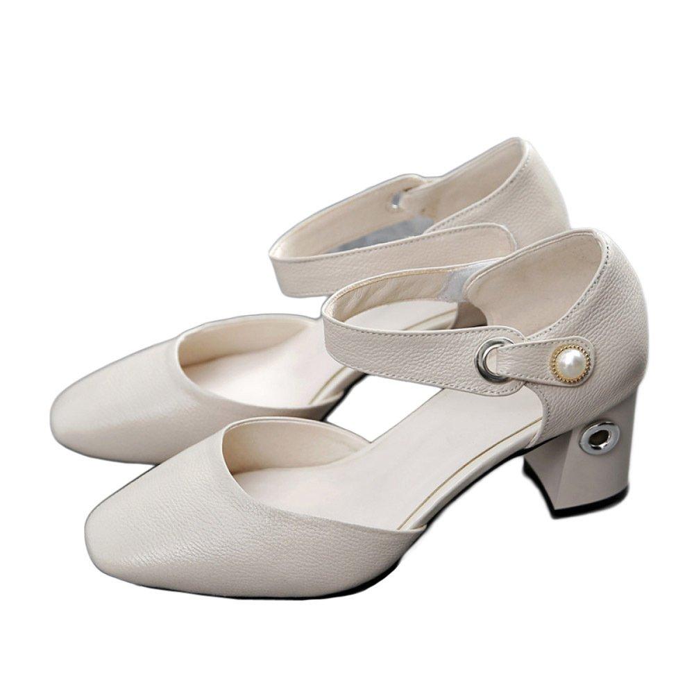 ZXCB Mujeres Bajo Medio Bloque Talón Cabeza Cuadrada Zapatos De Tacón Alto De Cuero Genuino Trabajo Clásico Vestido De Fiesta Zapatos De La Corte EU:40/UK:7