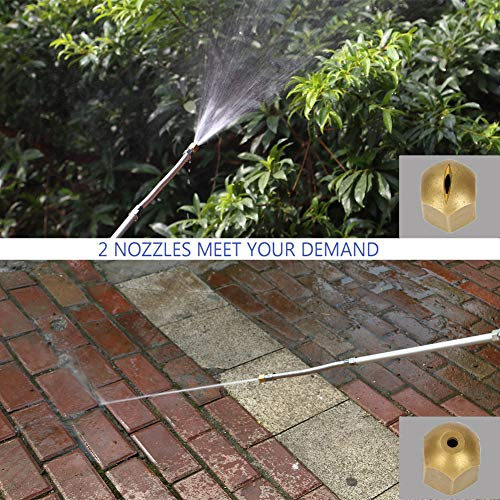 Cszxx Extendable Hydro Jet High Pressure Power Washer Wand - Magic PowerWater Hose Nozzle, Flexible Garden Watering Sprayer for Car Wash and Window Washing with Free Scrubbing Mitt (Blue) by Cszxx (Image #2)