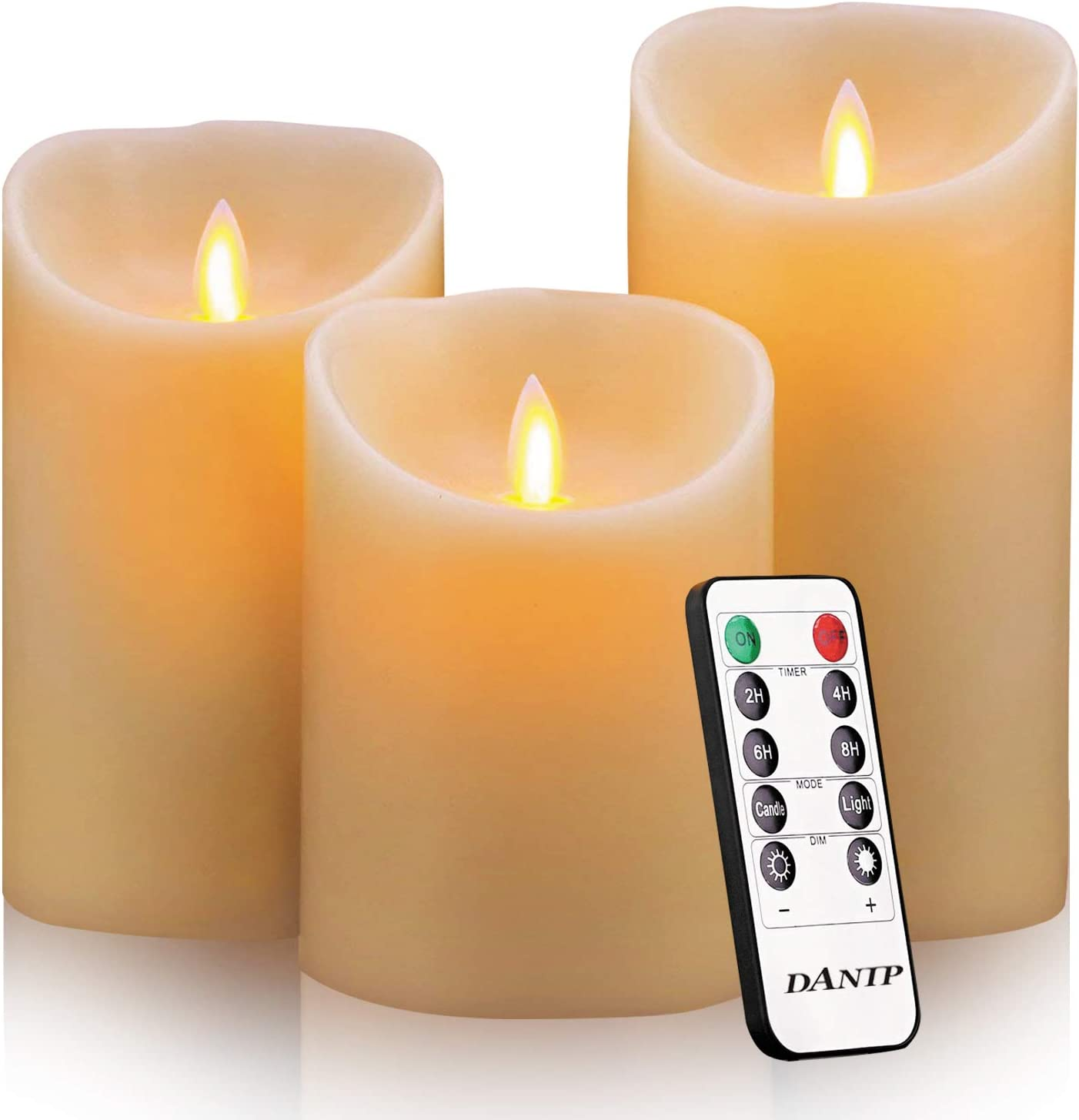 """DANIP Flameless Candles, 4"""" 5"""" 6"""" Set of 3 Real Wax Not Plastic Pillars, Include Realistic Dancing LED Flames and 10-Key Remote Control with 2/4/6/8-hours Timer Function,300+ Hours (3X1)"""