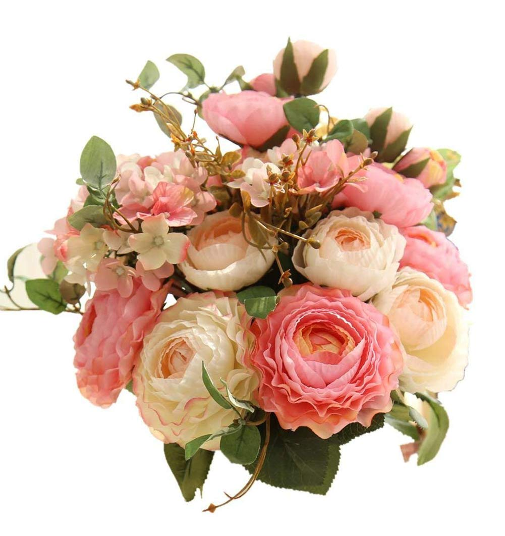 Artfen Artificial Flowers Fake Silk Hydrangea Flower Simulation Hand Tied Bouquet Lu Lotus Bouquet for Home Hotel Office Wedding Party Garden Craft Art Decor Approx 8.5'' in Diameter Pink 2