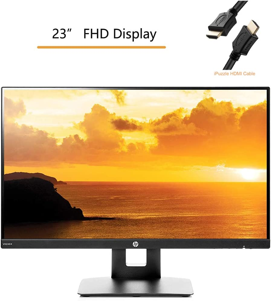 """HP 23.8"""" FHD 1080p IPS LED Monitor with Built-in Speakers and VESA Mounting, Tilt, and HDMI & VGA Ports, Rotating Portrait & Landscape, Black, iPuzzle HDMI Cable 3ft"""