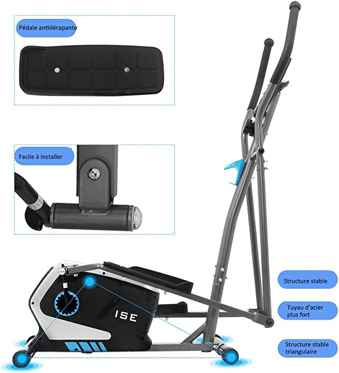 ISE Bicicleta Elíptica Profesional de Fitness para Casa con Sensor de Pulso,8 Niveles de Resistencia, LCD Pantalla, Ajustable Máquina Elíptica de Gimnasio Ejercicio con 8KG Volante de Inercia, SY-9801: Amazon.es: Deportes y