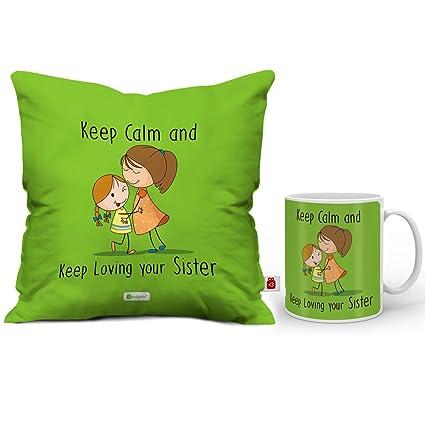 Indigifts Rakshabandhan Gifts For Sister Keep Loving Sis Quote Coffee Mug 330 Ml Cushion Cover
