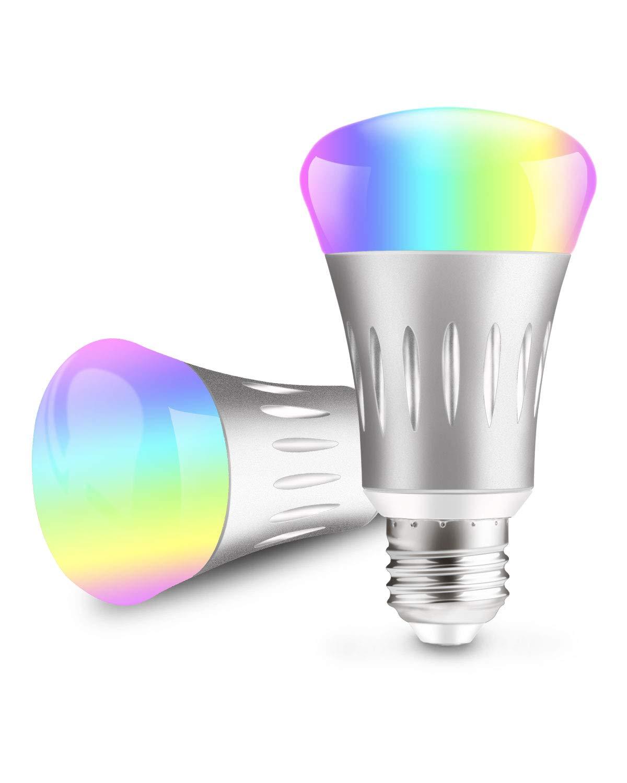Htwon スマート電球 スマートLED電球 E27 E2710A 700ルーメン WiFi 6000K 調光機能付き マルチカラー電球 Alexa & Google Home対応 スマートフォン制御 ウェイクアップライト & ナイトライト  2パック B07KF3NF99