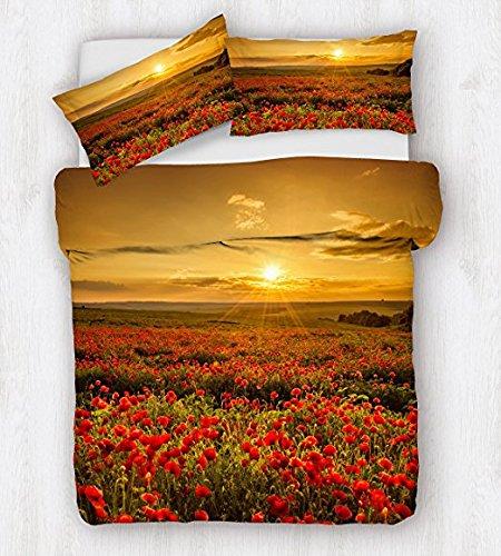 Copripiumino 250 X 215.Copripiumino Matrimoniale Stampa Digitale 3d Sacco E Federe Fantasia Papaveri