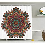 Ambesonne Mandala Decor Collection, Ethnic Mandala Design with Indian Textile Unifying Centre Eastern Religion Sign Pattern Print, Polyester Fabric Bathroom Shower Curtain, 84 Inches Extra Long, Multi