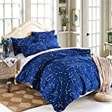 EsyDream Home Bedding Blue Color constellation 4PC Duvet Cover Sets,Outer Space Style Kids Bedding Sets,Cotton & microfiber (No Comforter),Twin Size (4pc Set)