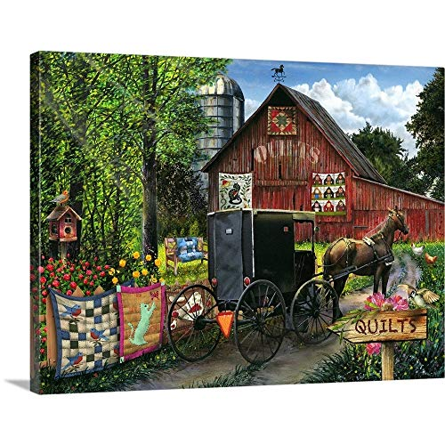"Amish Quilts Canvas Wall Art Print, 24""x18""x1.25"""