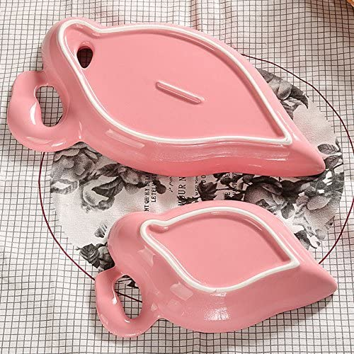 PINGJING Ceramic Pink Flamingo Cookie Candy Appetizer Dinner Plate Tray Snack Dip Bowls 6.5 Inch