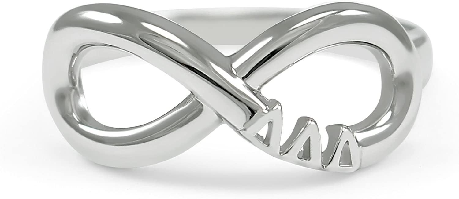 The Collegiate Standard Delta Delta Delta (Tri Delta) Sorority Sterling Silver Infinity Ring