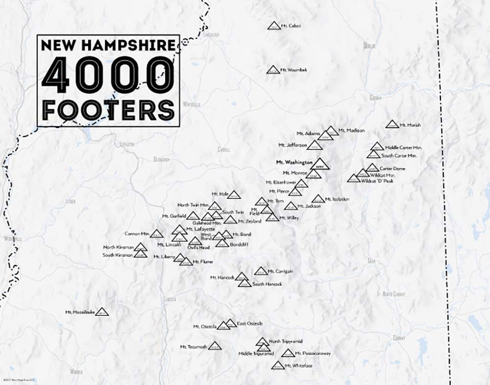 Map Of New England 4000 Footers.Amazon Com Best Maps Ever New Hampshire 4000 Footers Map 11x14