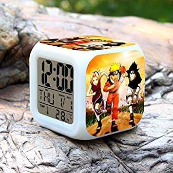 Amazon.com : Anime Naruto Saat Digital Reloj Despertador Color Change Action Figure Alarm Clocks Collectible Model Kids Toy Desktop Clocks : Baby