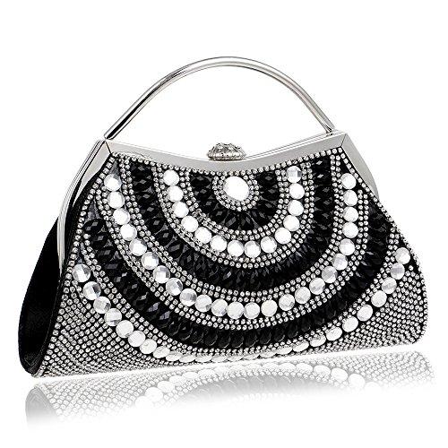 De De Avec Diamant Black D'embrayage Femmes Scintillant Bandoulière à Chaîne De Mariage Des Sacs Sac Main De Soirée Sac Bal Sac Main à Sac pqUnZd