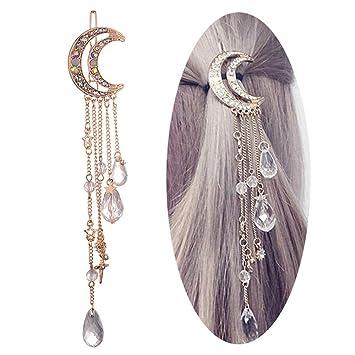 Moon Crystal Rhinestone Beads Dangle Hairpin Hair Clip Women Wedding Jewelry