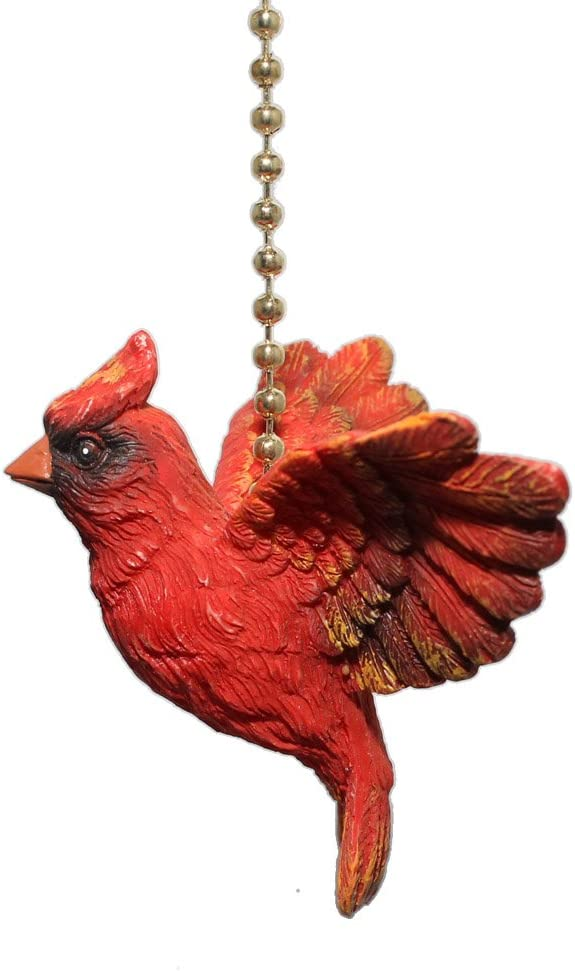 Red Cardinal Bird Ceiling Fan Light Pull Chain Home Decor