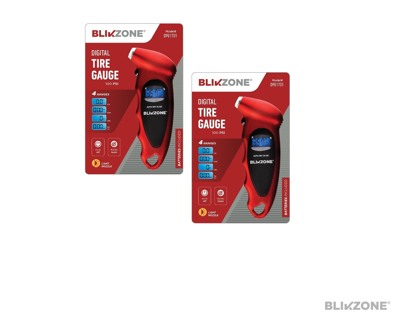 Blikzone Digital Tire Pressure Gauge 100 PSI for Car, Bicycle, Truck & RV Backlit LCD Screen 4 Ranges Auto-shutoff Easy-Grip, Handy Tool (2 Pack Red)