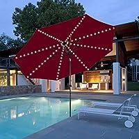 Mobestech - Luces para sombrillas solares impermeables y solares para jardín, 1 unidad, luz blanca