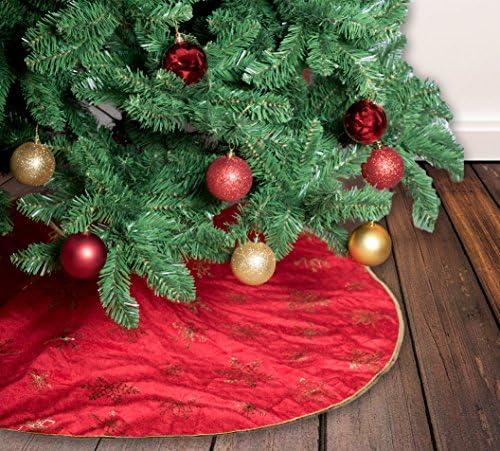 Gireshome velluto con glitter oro albero di Natale gonna 127/cm diametro albero di Natale Decor gonne New Year Holiday decorazione