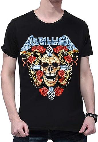 Camiseta Metalizada - Camisa - Camiseta - Hombre - niño - Manga Corta - Rock - Punk - Duro - Logo - Banda - Calavera - Cruz - Rosas - Color Negro: Amazon.es: Ropa y accesorios