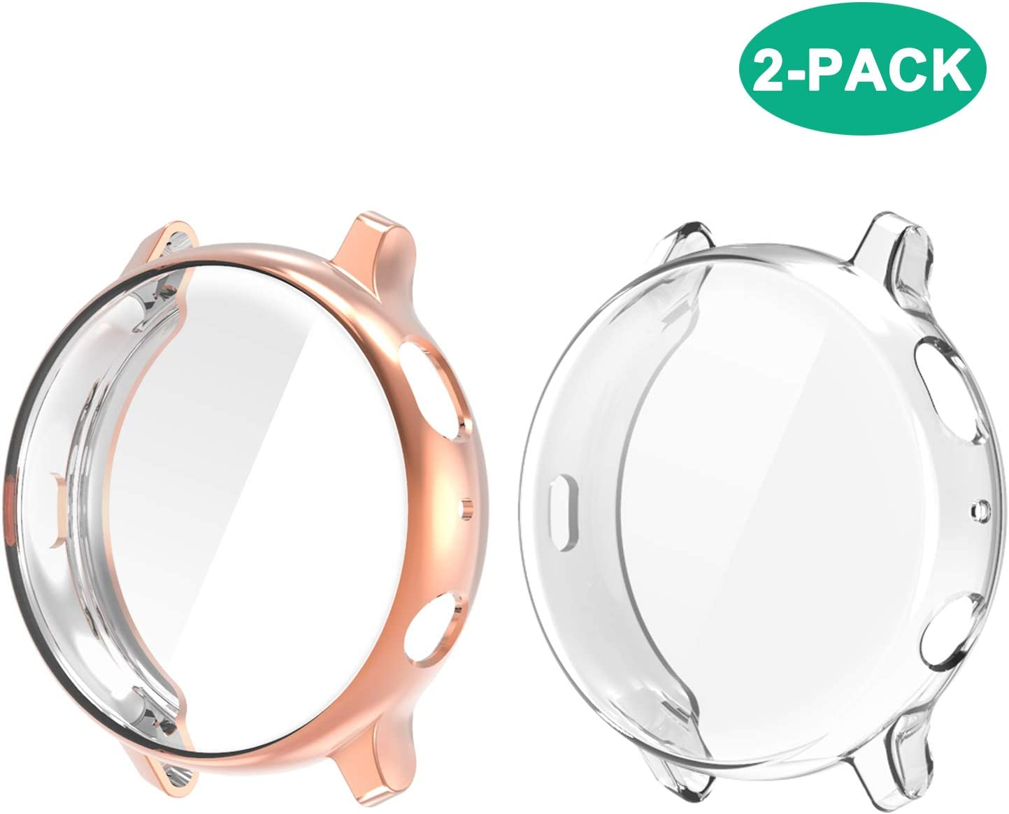 Compatible with Galaxy Watch Active 2 Case 40mm, 2 Pack Full Coverage TPU Anti-Scratch Screen Protector Case Soft Protective Cover for Samsung Galaxy Active 2 40mm Smartwatch