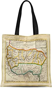 Semtomn Cotton Line Canvas Tote Bag Africa Negroland and Guinea Westafrica Hand Col Engraved Map Reusable Handbag Shoulder Grocery Shopping Bags