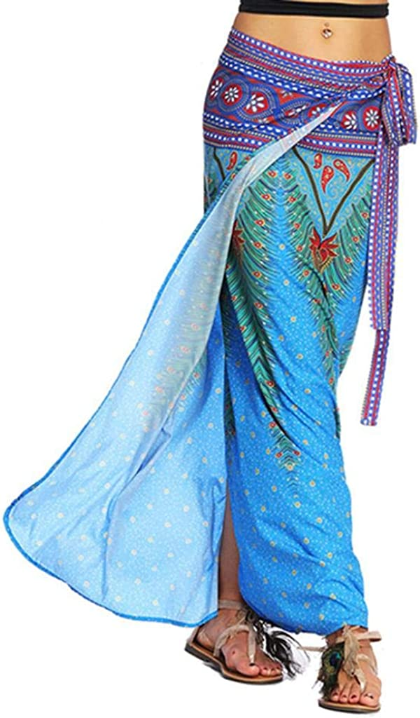 Sixcup Femmes Jupe Portefeuille Jupe Maxi Indienne avec Ceinture Tour de Taille Elastique Casual Boho Chic R/étro Jupe Aladdin Harem Jupe