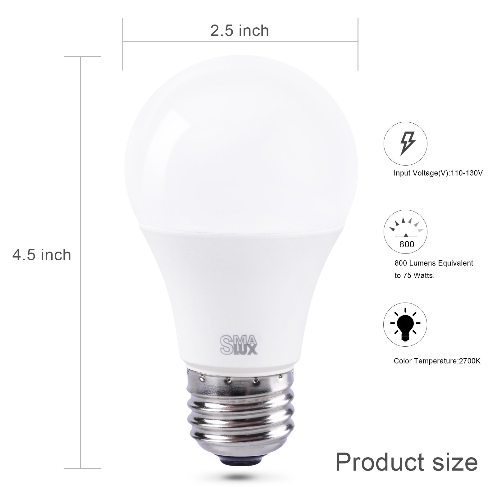 Smart LED Light Bulb, Smalux A19 E26 WiFi Warm White and RGB Color Tunable Dimmable Smart Home Bulb, 800 Lumens 75W Equivalent LED Bulb with Timer Function,Work with Alexa/Google Home/IFTTT