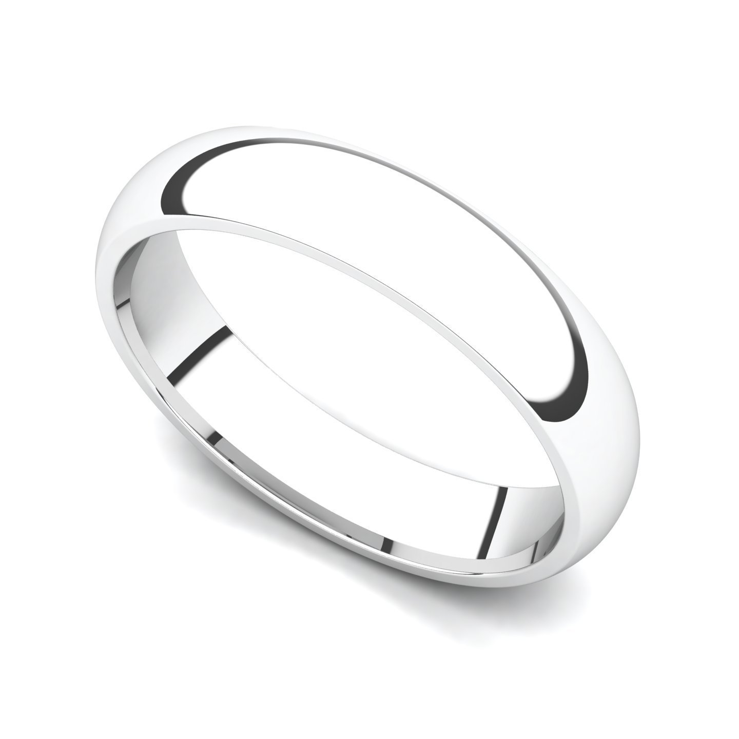 14k White Gold 4mm Classic Plain Comfort Fit Wedding Band Ring, 10.5