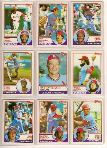 1983 St Louis Cardinals (St Louis Cardinals 1983 Topps Baseball Master Team Set w/ Year End Traded Cards (34 Cards) (Nr-Mt to Mt)**Willie McGee Rookie Card**plete list of who is in this team set: Team Leaders, Neil Allen, Joaquin Andujar, Doug Bair, Steve Braun, Bob Forsch, David Green, George Hendrick, Keith Hernandez, Tom Herr, Whitey Herzog, Dane Iorg, Jim Kaat, Jeff Lahti, Tito Landrum, Dave LaPoint, Ken Oberkfell, Darrell Porter, Mike Ramsey, Lonnie Smith, Ozzie Smith, Bruce Sutter, Gene Tenace and More**)