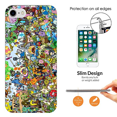 "000005 - Cool Funky Adventure Time Cartoon Funny Design iphone 7 Plus 5.5"" Fashion Trend Leichtgewicht Hülle Ultra Slim 0.3MM Kunststoff Kanten und Rückseite Protection Hülle - Clear"