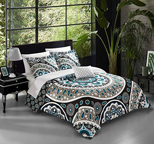 Chic Home 4 Piece Lacey Large Scale Contempo Bohemian Reversible Printed with Embroidered Details. King Duvet Cover Set Black