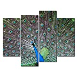 Teal 4 Panel Wall Art Painting Peacock Courtship Prints On Canvas The Picture Animal Pictures Oil For Home Modern Decoration Print Decor For Bedroom