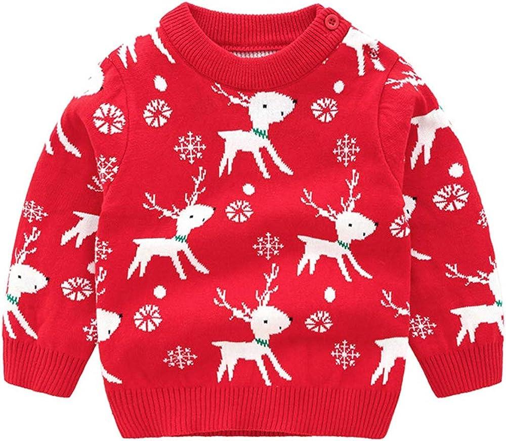 Toddler Boy Girl Christmas Sweater Knite Pullover Xmas Reindeer Elk Snowman Cartoon Sweatshirts Tops