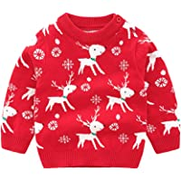 Plustrong Toddler Girls Christmas Sweater Reindeer Snowflake Xmas Gifts Winter Knit Sweaters Tops