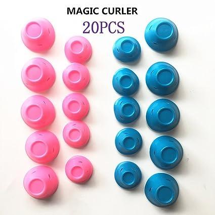 JNDKS 20 piezas rizador de pelo rosa mágico carrete sin clip de silicona caliente rizadores de