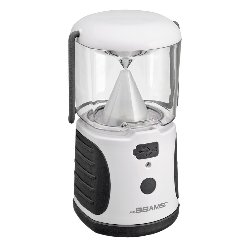 Mr. Beams MB480 UltraBright LED Camping Lantern with USB Charger for iPhone; Camping, Hiking, Hurricanes, Emergencies, Outages; Water resistant, Lightweight, Super bright, Removable top cover, Hook and handle – White