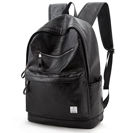 d34d12bf40b7 Image Unavailable. Image not available for. Color  PU Leather Backpack  College Bookbag Laptop Computer Rucksack Black