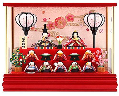 雛人形 リュウコドウ ちりめん ふっくら ひな人形 ケース飾り 十人飾り 丸金柱 キャンディーレッド ラインストーン ガラスケース 2.流水桜 カラー