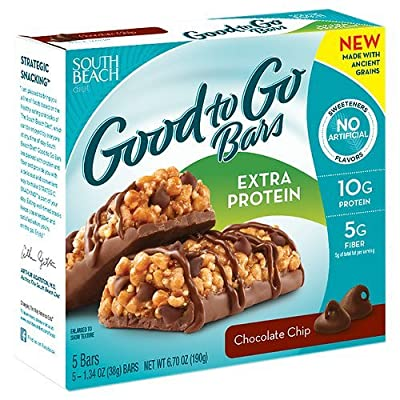 South Beach Diet Good to Go Bars, Extra Protein, Chocolate Chip 1.23 oz(Pack of 1)