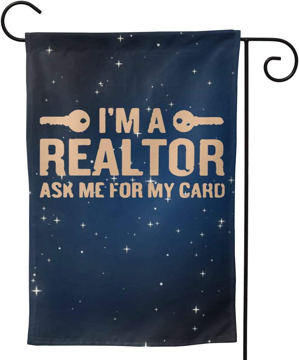 "CHANGQUDD I'm A Realtor Dyed Garden Flag Welcome Banner for Patio Lawn Party Yard Home Outdoor Decor, On Both Sides, 12.5""X18"" / 28""X40"""