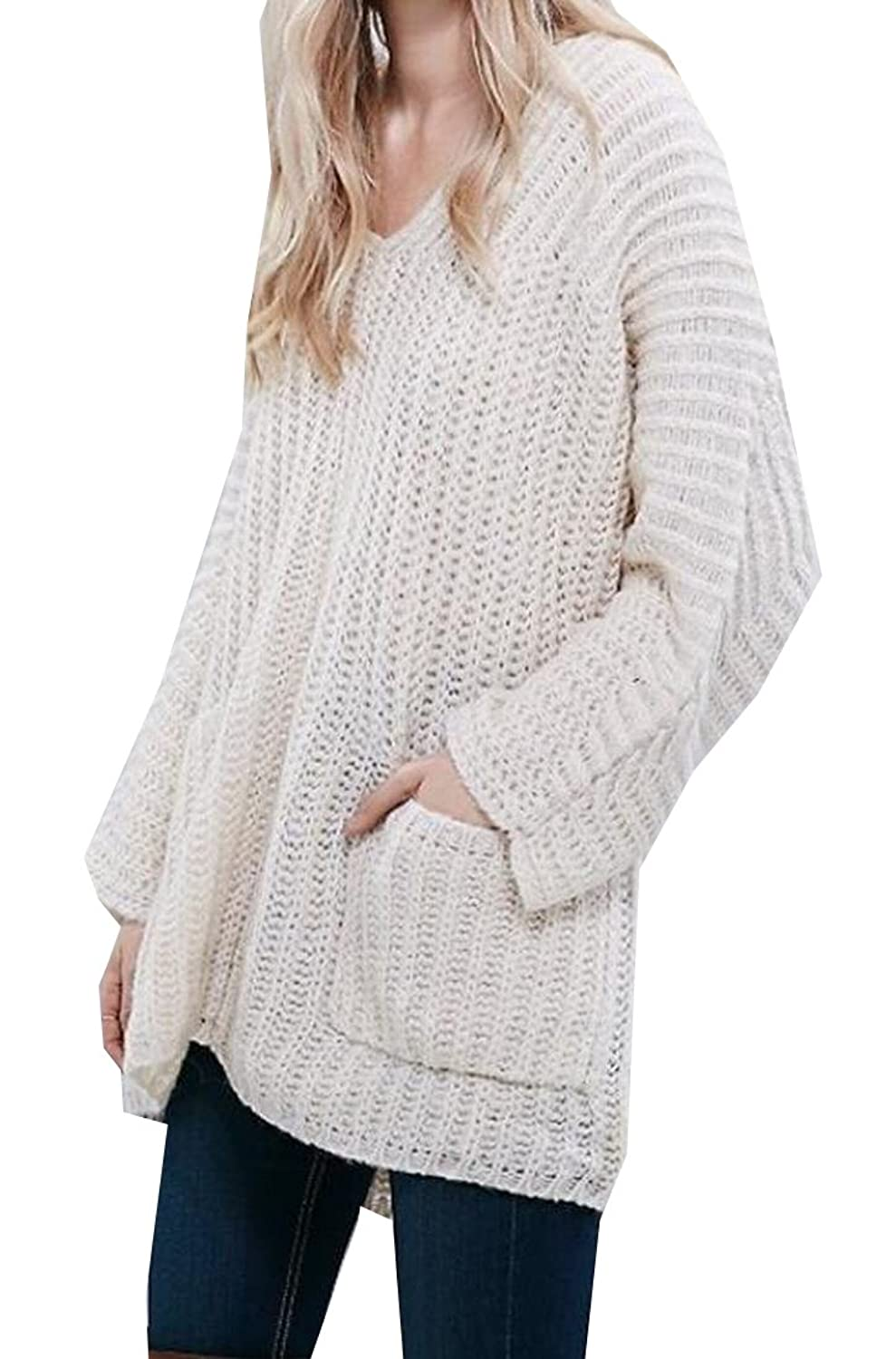 Abetteric Women's Pure Color Long Sleeve Sweater