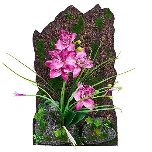 Silk Flower Arrangement artificial orchid plant Home school office decoration (Purple)