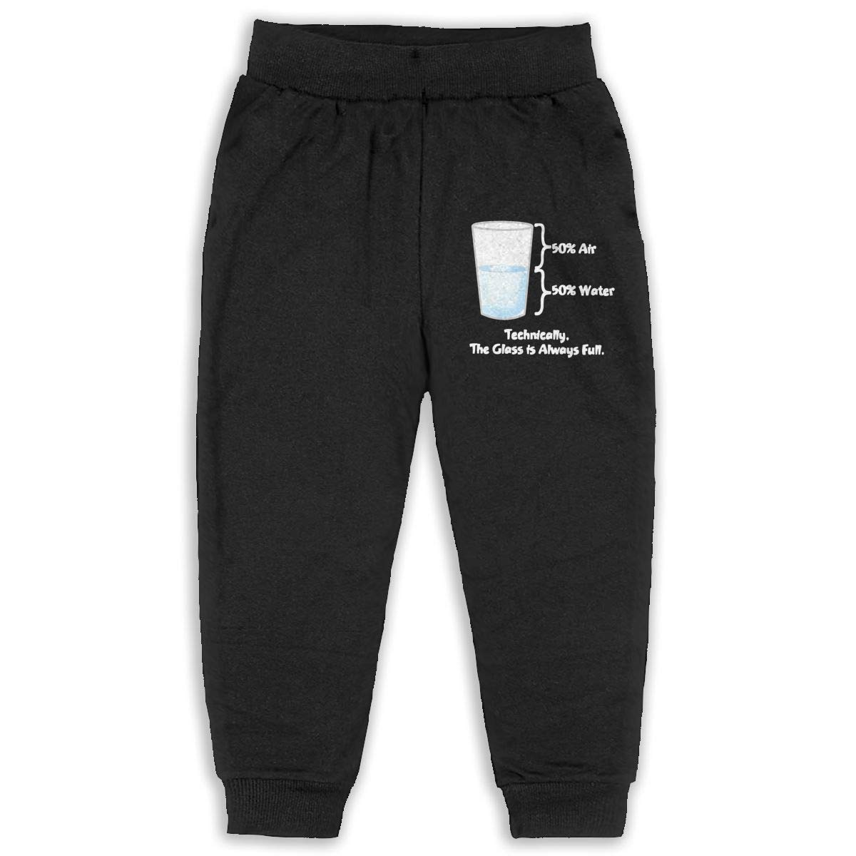 Never-Cold Technically The Glass is Completely Toddler Boys Sweatpants Elastic Waist Pants for 2T-6T