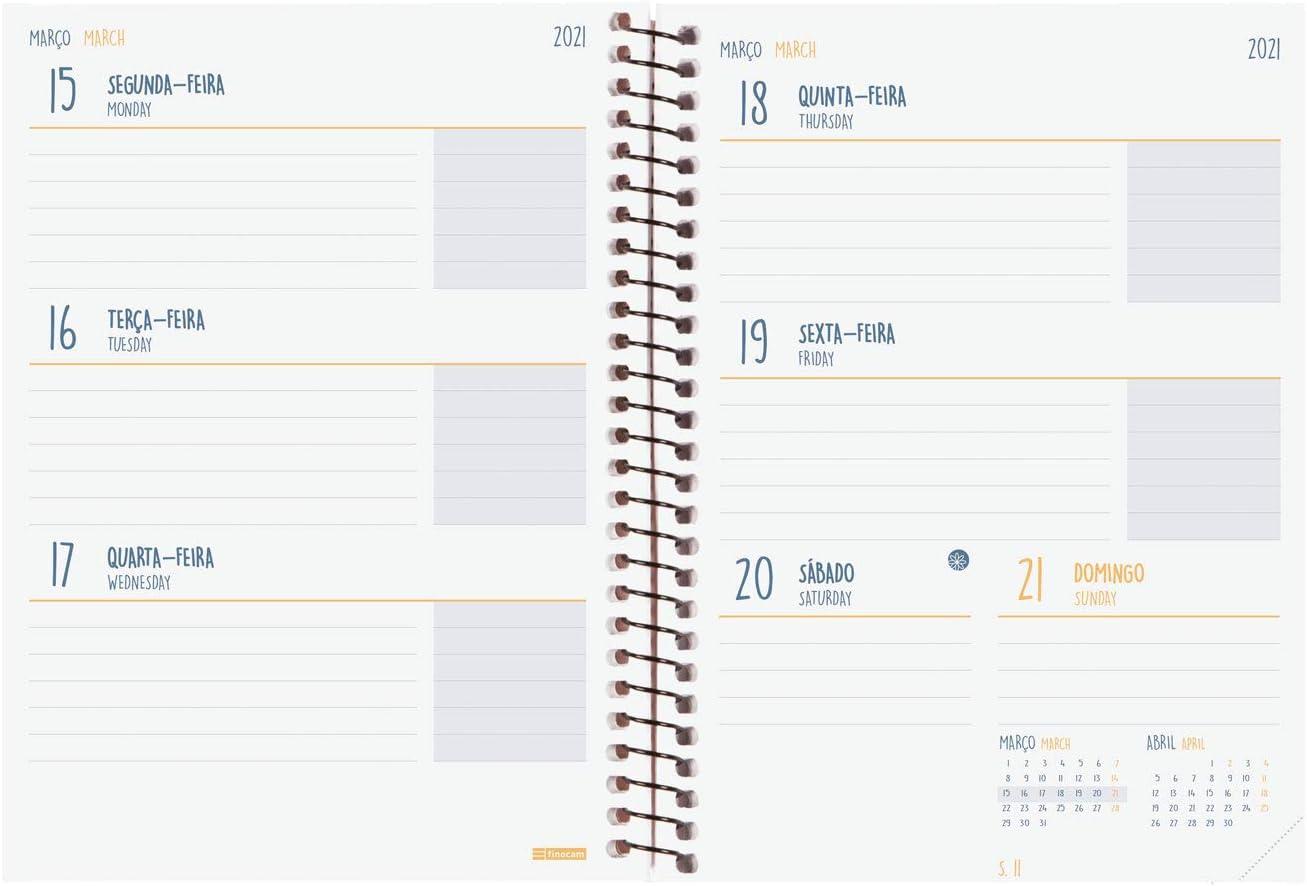 Finocam Agenda scolaire 2020-2021 E8-120 x 171 semainier paysage Espir Label noir portugais