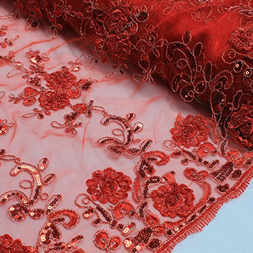Red 51'' Teresita 3D Floral Foil Vines with Sequin Lace on Mesh Lace Fabric Foil Mesh Dress
