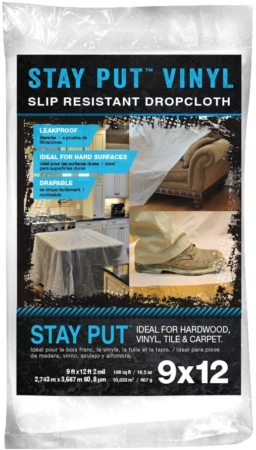 Trimaco 2 mil Stay Put Slip Resistant Vinyl Dropcloth, 9-feet x 12-feet - -