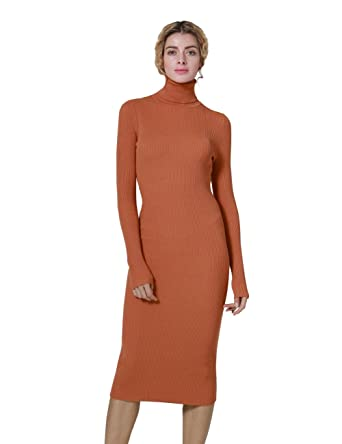 6913ea7b5e ninovino Women s Turtleneck Ribbed Long Sleeve Bodycon Winter Dresses  Tangerine-XS