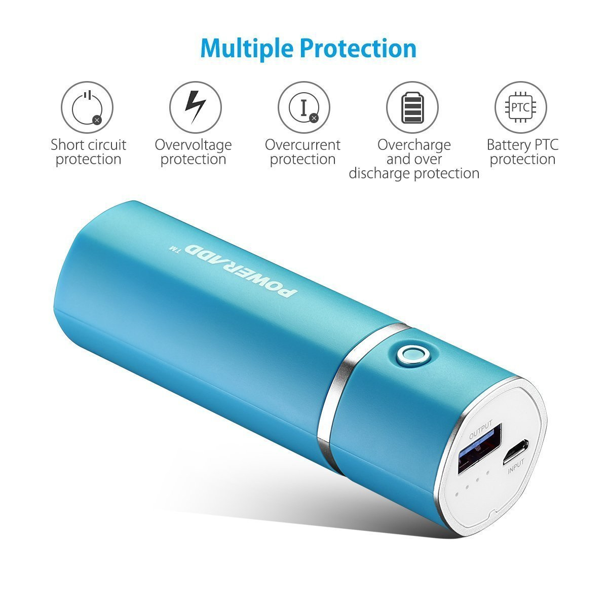 [Upgraded] Poweradd Slim 2 Most Compact 5000mAh External Battery 2.1A Ouput Portable Charger with Smart Charge for iPhones, iPad, Samsung Galaxy, HTC and More - Blue by POWERADD (Image #6)