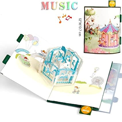 Amazon Handmade Colour 3D Pop Up Origami Musical Greeting Cards Birthday Paper With Mini Gift Laser Card Home Kitchen