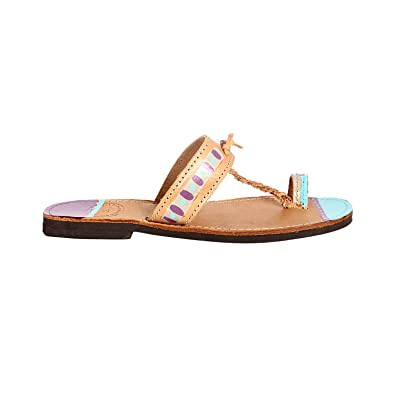 db9405a83638 COLOURBOX Women s Leather Sandals With Colorful Design Leather   Amazon.co.uk  Shoes   Bags